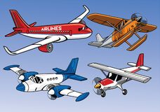 Collection of modern airplane colored version Royalty Free Stock Image