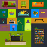 Vector collection of modern flat furniture icon set. Set of furniture design elements. Flat furniture set. Furniture set for living room.  colorful flat Stock Photography