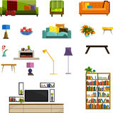 Vector collection of modern flat furniture icon set. Set of furniture design elements. Flat furniture set. Furniture set for living room.  colorful flat Royalty Free Stock Photo