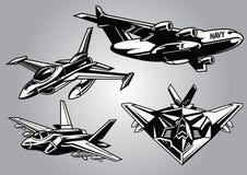 Collection of modern military aircraft Stock Photos