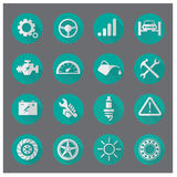 Vector collection of modern, simple, flat and trendy Car service. Icons with long shadow Stock Image