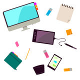 Vector collection of modern trendy flat business and office icon. S. Concept of creative office workspace Stock Photos