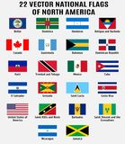Vector collection of 22 national flags of North America vector illustration