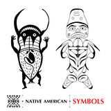 Vector collection with Native American schematic human figures isolated on white. Ethnic ornament symbol. Stock Image