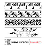 Vector collection with Native American seamless pattern isolated on white background. Ethnic ornaments and borders. royalty free illustration