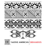 Vector collection with Native American seamless pattern isolated on white background. Ethnic ornaments and borders. Royalty Free Stock Photography