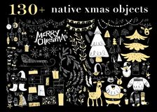 Vector collection of native christmas design elements isolated on black background. Royalty Free Stock Photo