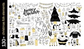 Vector collection of native christmas design elements isolated on white background. Stock Photography