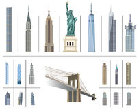 Vector collection of New York city landmarks. Collection of New York city landmarks royalty free illustration
