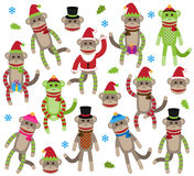Vector Collection Of Cute Christmas Themed Sock Monkeys Stock Images