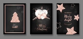 Vector Collection Of Elegant Merry Christmas Cards With Christmas Balls Star Christmas Tree Flyer New Year Brochure 2019 Stock Photography
