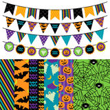 Vector Collection Of Halloween Themed Bunting And Seamless Tileable Backgrounds Royalty Free Stock Photos