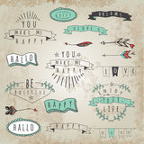 Vector Collection Of Hipster Style Words And Phrases. Stock Photography