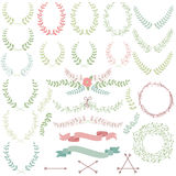 Vector Collection Of Laurels, Floral Elements Royalty Free Stock Images