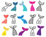 Free Vector Collection Of Mermaid Tail Illustrations Stock Photo - 144306010