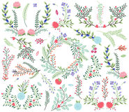Vector Collection Of Vintage Style Hand Drawn Florals Royalty Free Stock Image