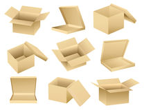 Vector collection of open boxes Royalty Free Stock Image