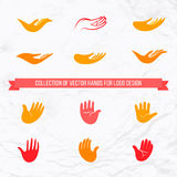 Vector collection of open palms and hands. With front and side view for logo design. Concept of love, family, care, local and global community, help, insurance Vector Illustration