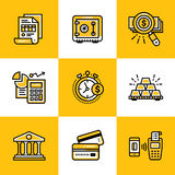 Vector collection of outline icons, finance, banking. Premium qu. Vector template for your design Royalty Free Stock Photos