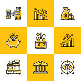 Vector collection of outline icons, finance, banking. Premium qu Stock Photo