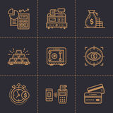 Vector collection of outline icons, finance, banking. Premium. Premium quality modern icons for your design Stock Photo