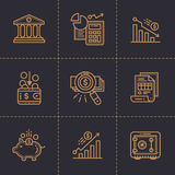 Vector collection of outline icons, finance, banking. Premium  Stock Image