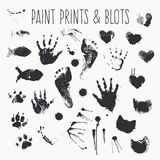 Vector collection of paint prints - footsteps, pawprints, palms, shapes of hearts, cat fish, inkblots Stock Photography