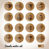 Vector collection of party pastry, cakes and Stock Photography