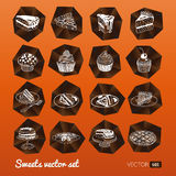 Vector collection of party pastry, cakes and Stock Photo