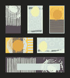 Vector collection of pastel colored business vertical and horizontal cards and banner, hand drawn with liquid ink and brush, with Royalty Free Stock Images