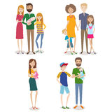 Vector collection of people with family and kids Royalty Free Stock Photography