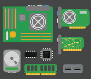 Vector collection of personal computer parts: motherboard, video. Card, hard drive, network card, usb connector, coolers, chips, isolated on grey background