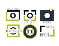 Vector collection of photography logo templates. Photocam logotypes. Photography vintage badges and icons. Modern mass media icons. Photo labels Royalty Free Stock Images
