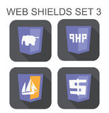 Vector collection of php web development shield signs: php eleph Royalty Free Stock Images