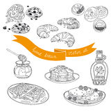 Vector collection of pie, cakes and sweets icons Royalty Free Stock Image