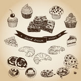 Vector collection of pie, cakes and sweets icons Stock Image