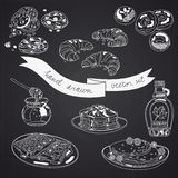 Vector collection of pie, cakes and sweets icons Royalty Free Stock Photos