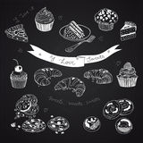 Vector collection of pie, cakes and sweets icons Stock Images