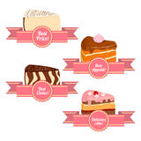 Vector collection of pieces cake servings. A set appetizing cakes. Royalty Free Stock Images