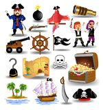 Vector collection of pirates clip arts, like treasure chest, ship wheel, pistol. Isolated on a white background Royalty Free Stock Image