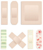 Vector collection of plasters. Vector collection of medical plasters Stock Images