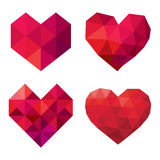 Vector collection of polygonal red hearts on white background Royalty Free Stock Image