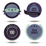 Vector collection of Premium Quality and Guarantee Labels retro vintage style design. 100% sign set badges hight realistic. Commercial product review Royalty Free Stock Images