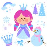 Beautiful snow princess and snowman vector collection. Royalty Free Stock Photo