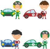 Vector collection of racing drivers and sport cars. Cute and bright racing drivers and sport cars. Vintage cars and boys isolated on white bacground vector illustration