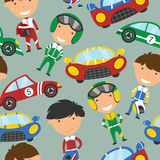 Vector collection of racing drivers and sport cars seamless patt. Vector seamless pattern with cute racing drivers and sport cars. Vintage automobiles with royalty free illustration
