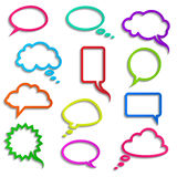 Vector collection of realistic colored speech bubbles Royalty Free Stock Images