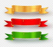 Collection of realistic festive ribbon banners. Vector collection of realistic festive ribbon banners with shadow on transparency background Royalty Free Stock Image
