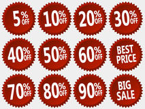 Vector collection of red discount stickers set. Collection of red discount stickers, vector illustration well layered you can make any digit Royalty Free Stock Image