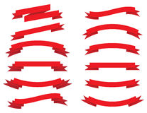 Vector collection: red ribbons Royalty Free Stock Photo